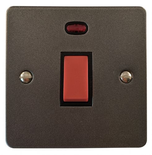 G&H FP46B Flat Plate Pewter 45 Amp DP Cooker Switch & Neon Single Plate